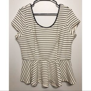 Xhilaration Striped Peplum Top // XXL